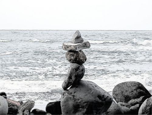 stones guard sea