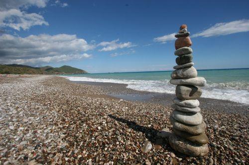 stones ocean meditate