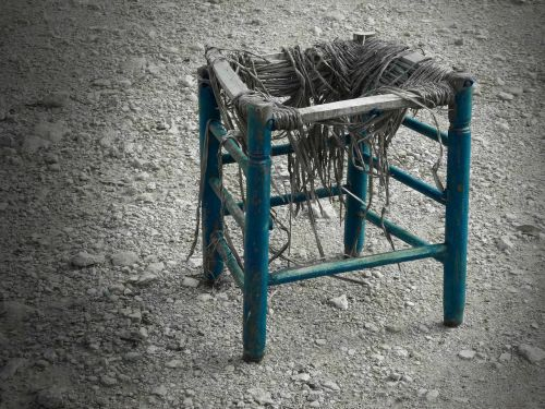 stool tousled old
