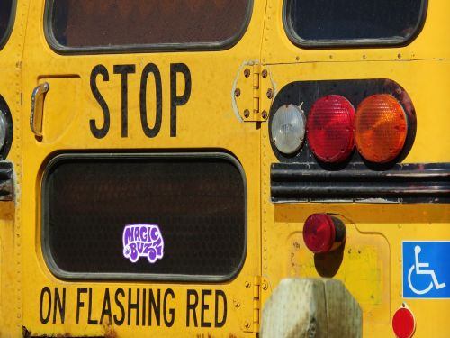 stop bus yellow