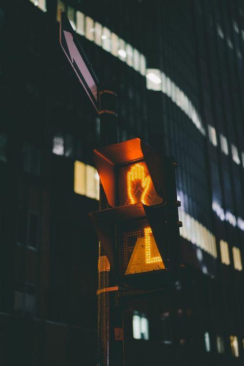 stoplight dark night