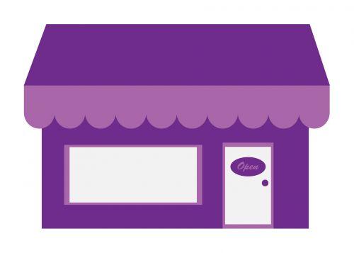 laikyti, parduotuvė, saugoti & nbsp, priešais, parduotuvė & nbsp, priekyje, violetinė, baldakimas, balta, fonas, Iliustracijos, iliustracija, Scrapbooking, Parduotuvių parduotuvė clip art