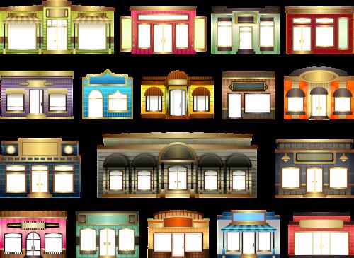 parduotuvės,saugoti frontus,nustatyti,pastatas,langas,durys,verslas,architektūra,komercinis,parduotuvė,parduotuvė,tentai,mažmeninė,parduotuvė,Iliustracijos