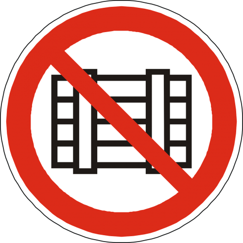 storing placing prohibited