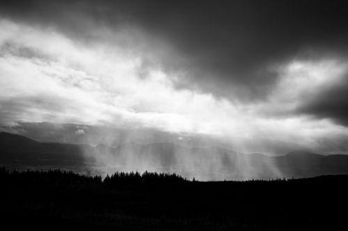 storm black and white rain