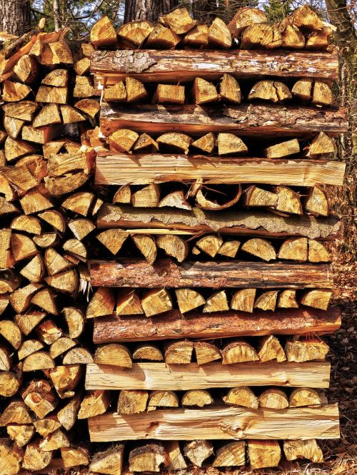 strains firewood stacked