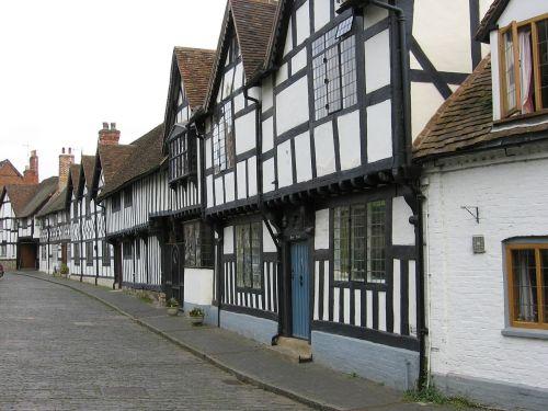 stratford,medienos ruošiniai,pastatai,viduramžių,Pagrindinė gatvė,Warwickshire,Anglija,mobelinės gatvės,architektūra,paveldas,senovės