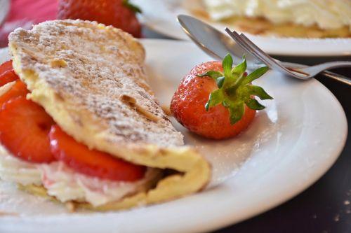 strawberries strawberry cake omelette