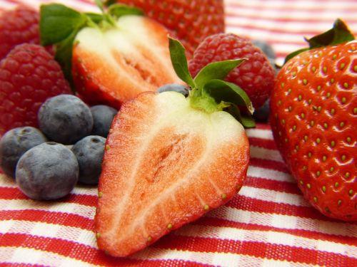 strawberries blueberries raspberries