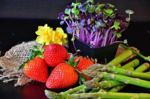 strawberries asparagus cress