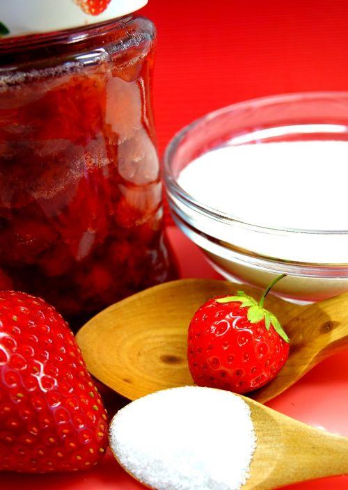 strawberries jam jam jars