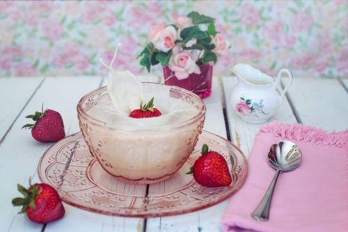 strawberries cream milk