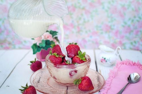 strawberries cream milk