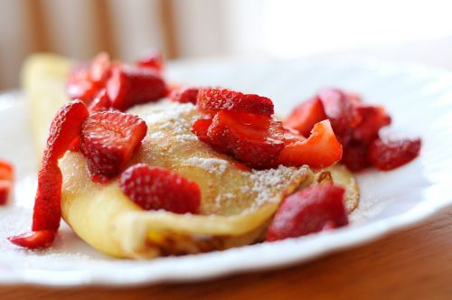 strawberries pancakes dessert