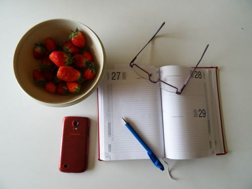 strawberries glasses ball pen