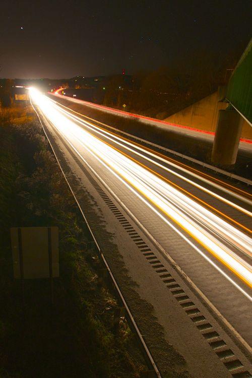 Streaks Of Highway Lights