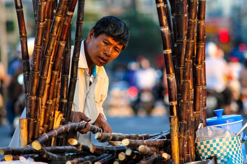 street  sugarcane  vendor