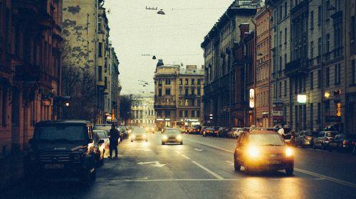 street twilight headlights