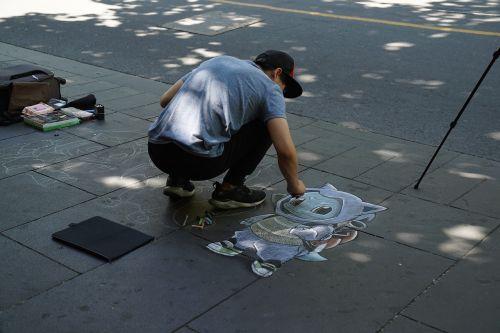 street artist cartoon characters audience