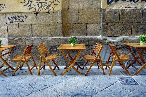 street cafe  chairs  dining tables