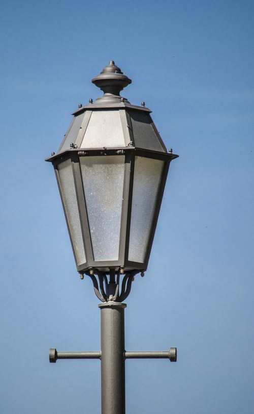 street lamp sky blue