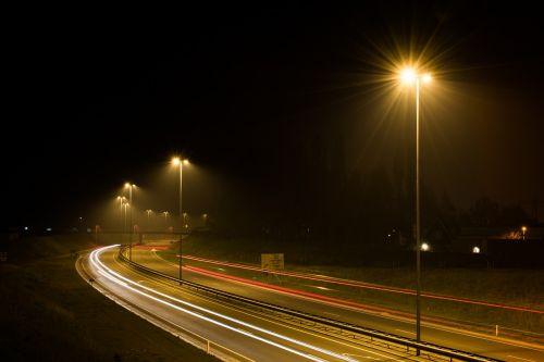 street lights street night