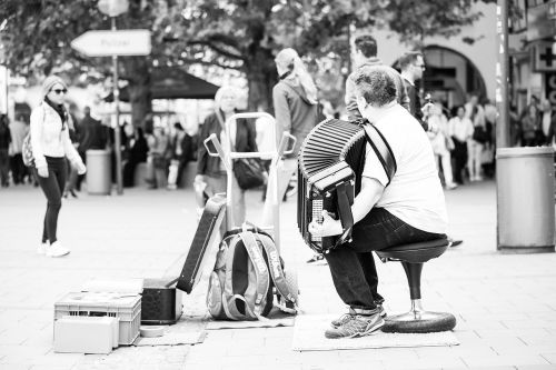 street musicians accordion pedestrian zone