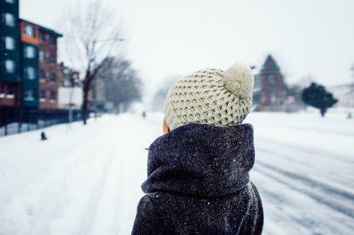 street scene snow winter clothes