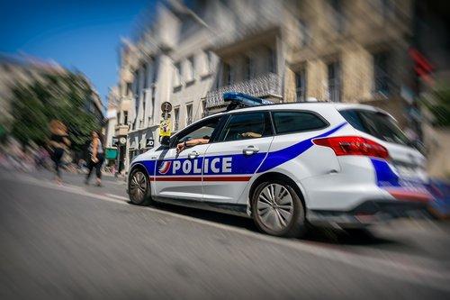street scene  police  car