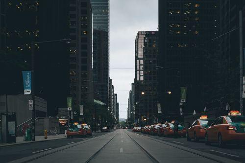 street scene landscape cabs