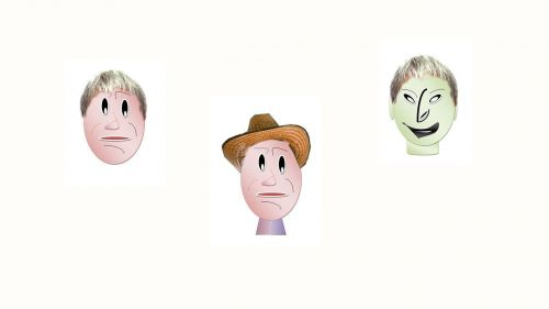 stressed faces heads hat