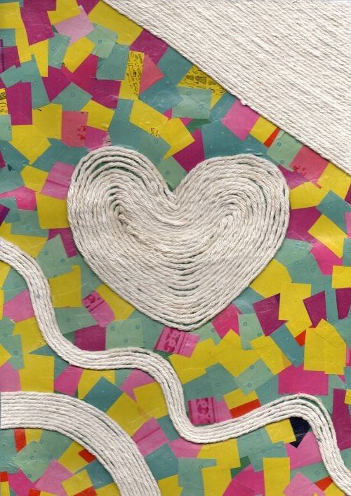 string heart collage