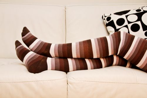 stripped socks long socks crossed legs