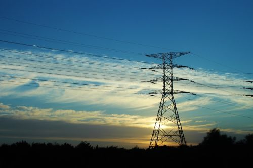 strommast sunset electricity pylon
