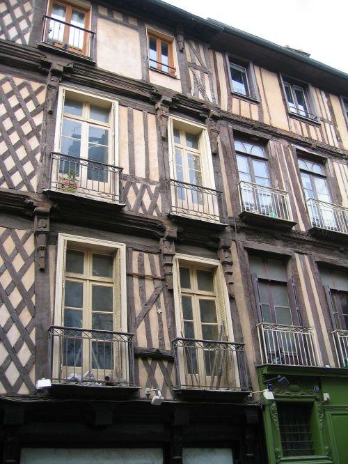 stud,mediena,rennes,langai,fasadas,pastatas,Bel,geras žvilgsnis,buvęs,paveldas,viduramžių