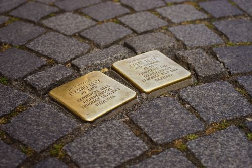 stumbling blocks memorial tablets brass plaque