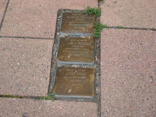 stumbling blocks memorial plaque stone