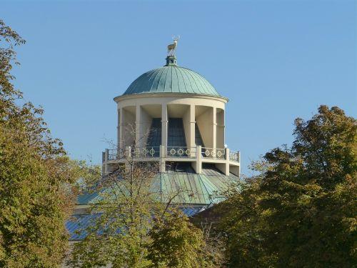 štutgartas,pastatas,kupolas,stogas,dangus,mėlynas,parkas,pilies parkas