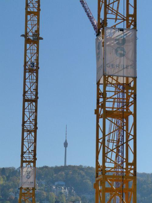 stuttgart tv tower cranes