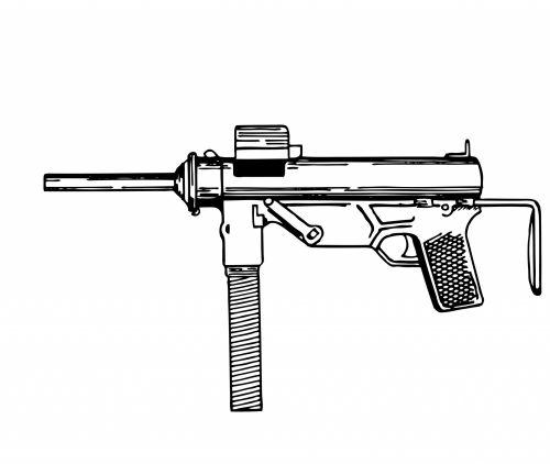 Submachine Gun Illustration Clipart