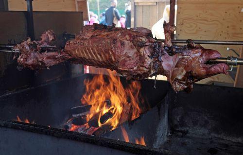 suckling pig pig spit roast