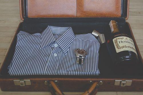 suitcase shirt wine