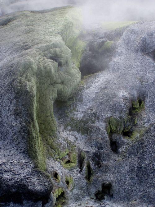 sulfur volcano steam