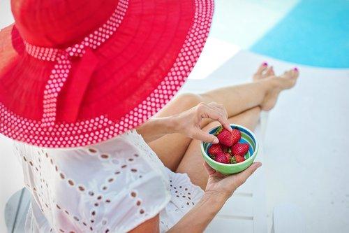 summer  poolside  red hat