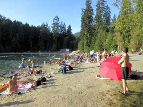 papludimys, vaizdas, vasara, beveik, daugiau, atostogos, ežeras, žmonės, vasara beveik baigėsi