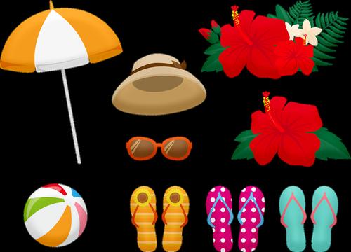 summer clothing  flip flops  hat