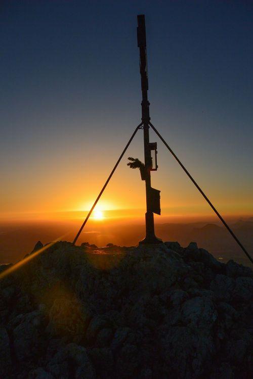 summit cross sunrise mountain