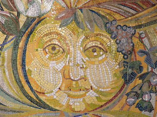sun wall art mosaic stones