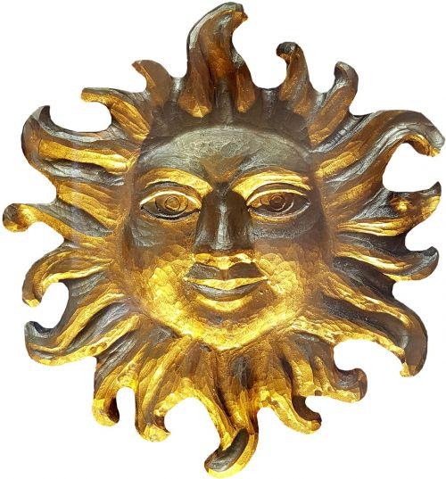 sun carving woodcut