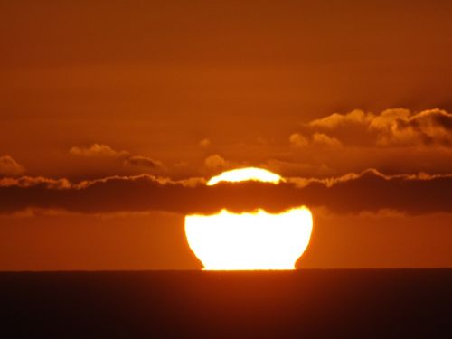 sun fireball sunset sea